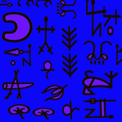 Shaman Symbols - 42x45 long -Electric Blue