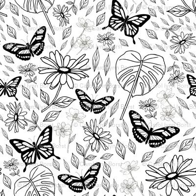 Big Butterflies and Daisies Botanical Pattern