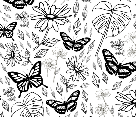 Big Butterflies and Daisies Botanical Pattern fabric by candogirldesign on Spoonflower - custom fabric