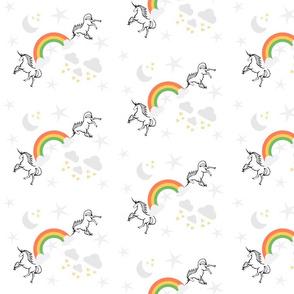 magical unicorns & rainbow orange  7 - gray