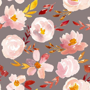 Blush Rust Gold Florals on Warm Gray
