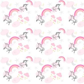 magical unicorns & pink rainbows 7 - gray pink sprinkle