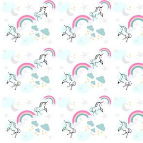 magical unicorns & rainbows 7 - gray mint sprinkle