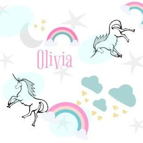 magical unicorns & rainbows 7 - gray mint sprinkle-candy pink text personalized for OLIVIA
