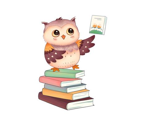 "18"" Reading Owl fabric by silveroakdesign on Spoonflower - custom fabric"