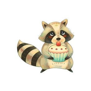 """18"""" Raccoon with cupcake"""