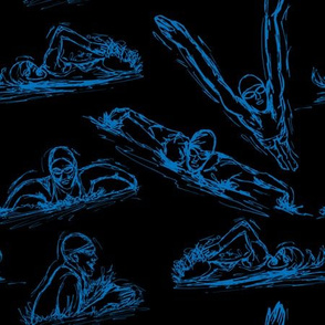 Swimming Sketches Blue on Black