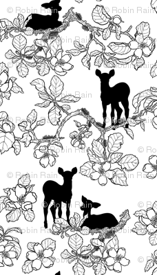 Large Scale Apple Blossoms and Fawns B/W