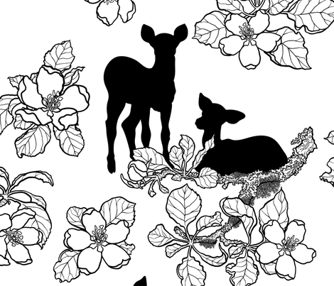 Large Scale Apple Blossoms and Fawns B/W fabric by robinrain on Spoonflower - custom fabric