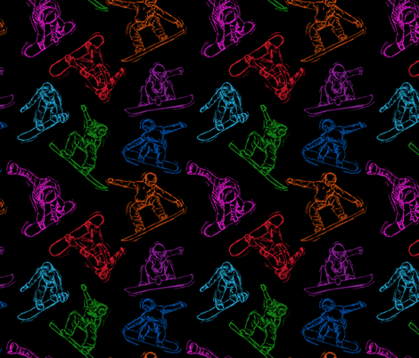 Snowboarding colorful Sketches on Black fabric by #artbykarridi on Spoonflower - custom fabric