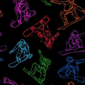 Snowboarding colorful Sketches on Black