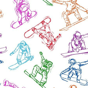 Snowboarding color Sketches on white