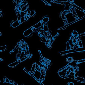 Snowboarding blue Sketches on Black