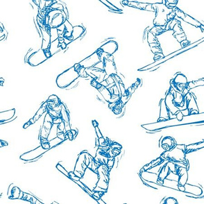 Snowboarding blue Sketches on white