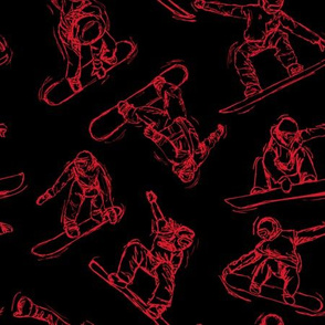 Snowboarding red Sketches on Black