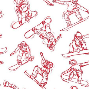 Snowboarding red Sketches on white