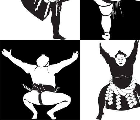 Sumo Black and White fabric by dancingbirdstudio on Spoonflower - custom fabric