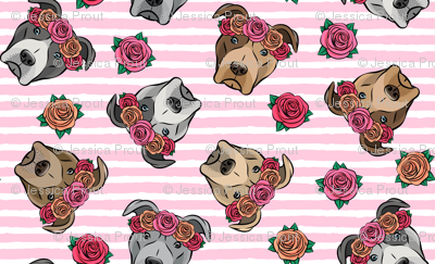 """(3/4"""" scale) all the pit bulls - floral crowns -  pink stripes C18BS"""