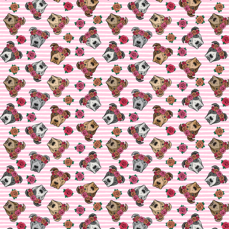 """(3/4"""" scale) all the pit bulls - floral crowns -  pink stripes C18BS fabric by littlearrowdesign on Spoonflower - custom fabric"""
