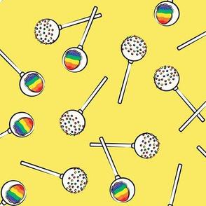 Rainbow Cake Pops - yellow