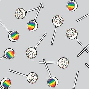 Rainbow Cake Pops - grey