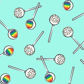 Rainbow Cake Pops - teal
