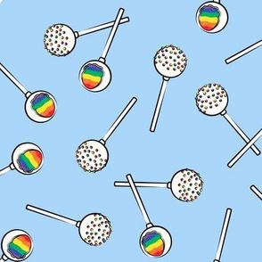 Rainbow Cake Pops - blue