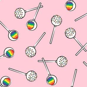Rainbow Cake Pops - pink