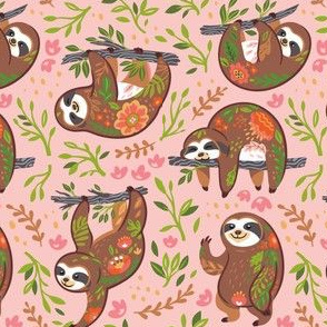 Beautiful blooming sloths