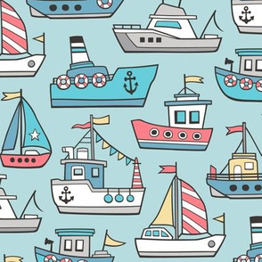 Boats Ships Nautical Maritime Doodle on Aqua Blue