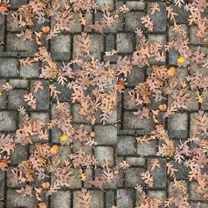 Oak Leaves On Pavers-Small-Half-Drop