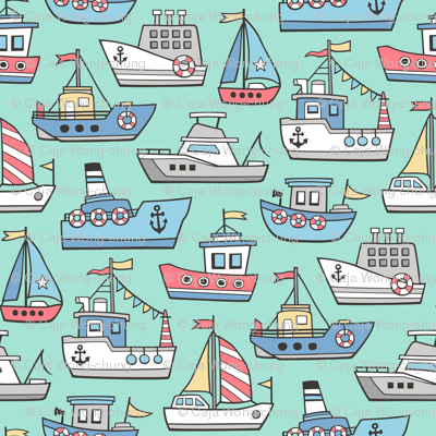 Boats Ships Nautical Maritime Doodle on Mint Green