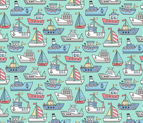 Boats Ships Nautical Maritime Doodle on Mint Green fabric by caja_design on Spoonflower - custom fabric