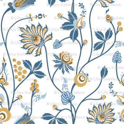 Scandinavian floral pattern with nordic  ornament on white background