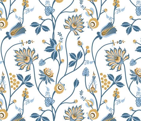 Scandinavian floral pattern with nordic  ornament on white background fabric by liliya_sudakova on Spoonflower - custom fabric