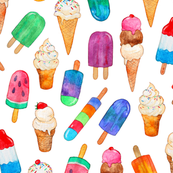 Watercolor Summer Ice Creams on White - large print