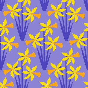 Daffodils on purple