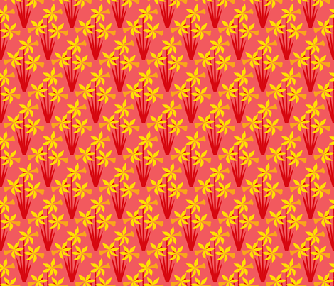 Daffodils on red fabric by cerigwen on Spoonflower - custom fabric