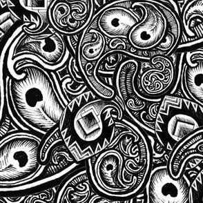 Paisley Eyes - black and white