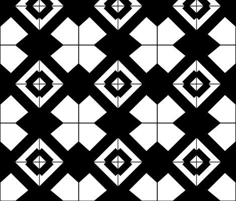 Black and white kitchen tiles-01 fabric by sophieworrall on Spoonflower - custom fabric