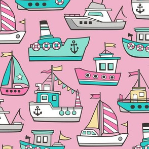 Boats Ships Nautical Maritime Doodle Pink Mint on Pink