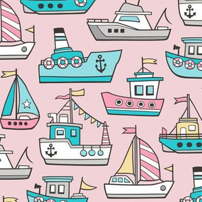 Boats Ships Nautical Maritime Doodle Pink on Light Pink
