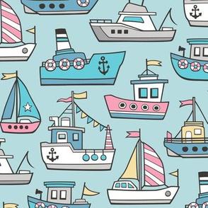 Boats Ships Nautical Maritime Doodle Pink on Aqua Blue
