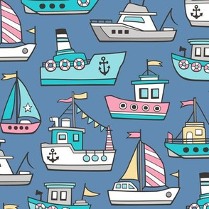 Boats Ships Nautical Maritime Doodle Pink on Navy Blue
