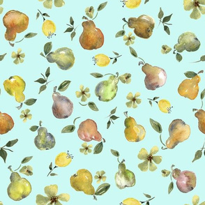 Pear Party in soft light blue