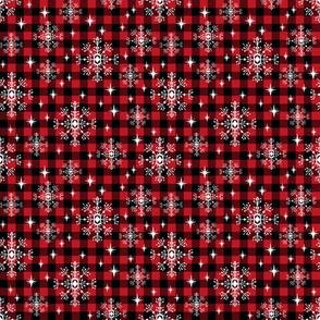 SMALL - buffalo plaid snowflakes winter christmas fabric snowflakes christmas plaid christmas fabric