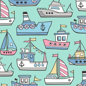 Boats Ships Nautical Maritime Doodle Pink on Mint Green