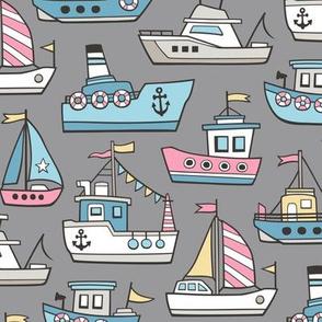 Boats Ships Nautical Maritime Doodle Pink on Grey