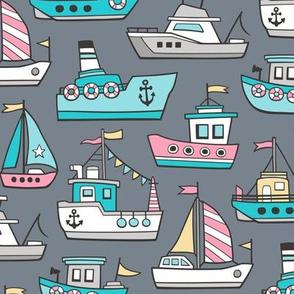 Boats Ships Nautical Maritime Doodle Pink on Dark Grey