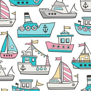 Boats Ships Nautical Maritime Doodle Pink Aqua Blue on White